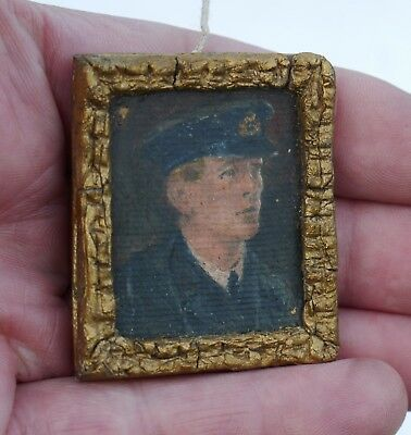 Antique Early 20thC DOLL HOUSE Original Tiny OIL PAINTING Portrait of an Officer