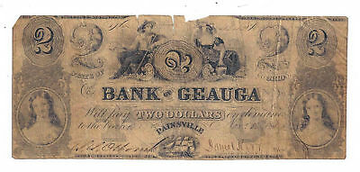 1854 The Bank of Geauga, Painsville, Ohio - Two Dollar Obsolete Note No.4342