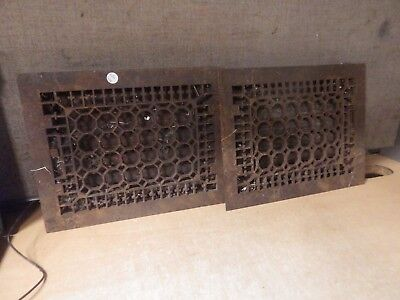 Antique Matching Pair Of Cast Iron Floor Furnace Grates Louvers