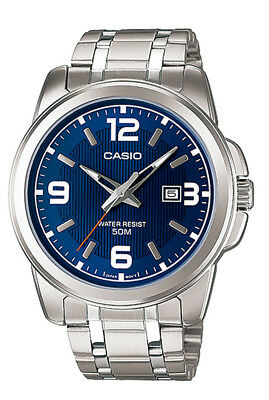 Casio MTP1314D-2A Men's Enticer Stainless Steel Blue Dial Date Analog Watch
