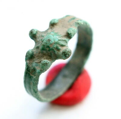 Medieval Horned Ornament Bronze Finger Ring (MAY03)