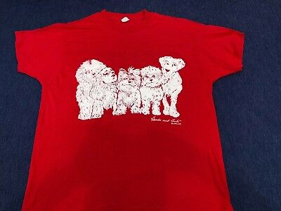 HEADS AND TAILS Vtg 80s Dogs Puppies 2 Sided Red T-SHIRT Sz XL Jerzees USA 50/50