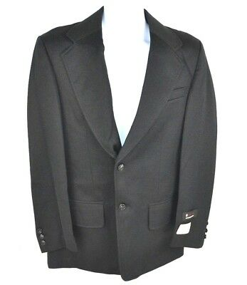 Vtg 1970's Envoy Men's Double Knit Polyester Solid Blazer Sport Coat, Black 40 L
