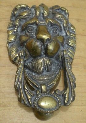 Old Brass Metal Large Lion Head Heavy Front Door Knocker Hardware 7 1/4 Inch
