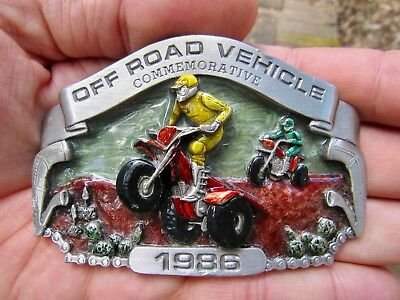 Vtg ALL TERRAIN CYCLE Belt Buckle 1986 Arroyo ATC Off Road ATV Pewter RARE VG++