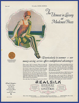 Vintage 1926 REAL SILK Hosiery Lingerie Stockings Women's Fashion Print Ad 20's
