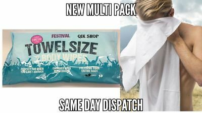 NEW MultiPack Festival Towel Size Body Wipes Over 1M Long 2 Wipes/Pack No Shower
