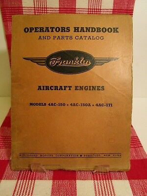 Franklin Aircraft Engines Operators Handbook 1940-Parts Catalog Models 4AC-1+++