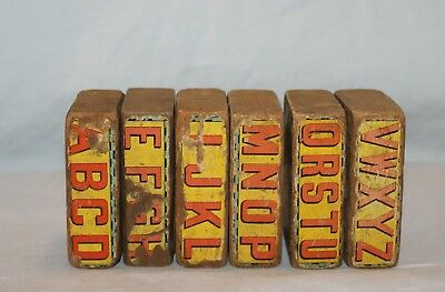 Antique Wood Paper Lithograph Alphabet Blocks Circus Train Scene Double Sided