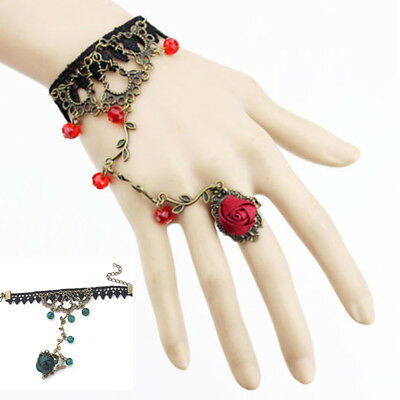 Women Gothic Lace Flower Hand Slave Harness Bracelet Chain Ring Jewelry Utility