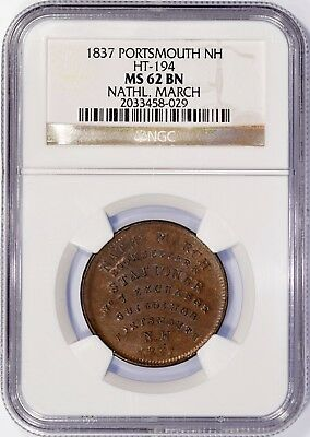 """1837 HT-194 """"Nathaniel March"""" Hard Times Token NGC MS62"""