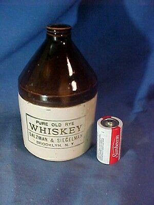 19thc OLD RYE WHISKEY Small PINT Size STONEWARE Advertising JUG Brooklyn NY