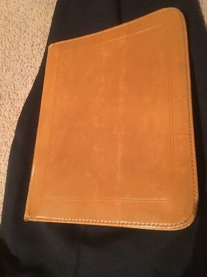 1940'S VINTAGE BON NALDA LEATHER Zippered Portfolio Tan