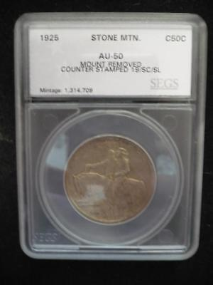 1925 Stone Mountain Silver Half Dollar   Encased     Counter Stamped