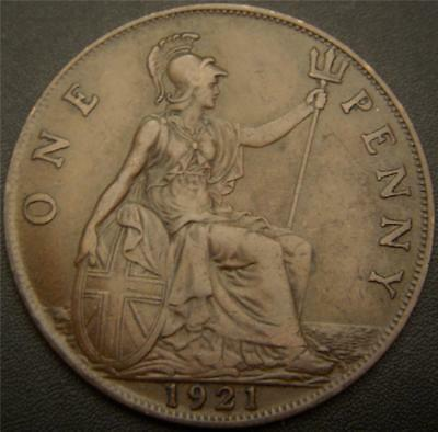 1921 One Penny Great Britain UK - Full Ear and Hair Details Still Show