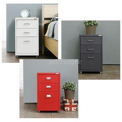 Metal Drawer Filing Cabinet Detachable Mobile File Cabinets W/ 3 Drawers Us  D9S9
