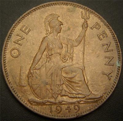 1949 One Penny Great Britain UK - Full Ear and Hair Details Still Show