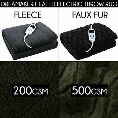 FAUX OR FLEECE HEATED ELECTRIC THROW RUG Snuggle Blanket Washable Winter Gift