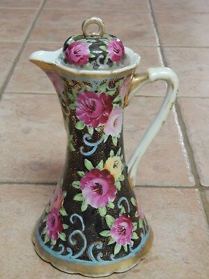 Antique  Nippon  Hp  China Rose Design Chocolate, Coffee Pot