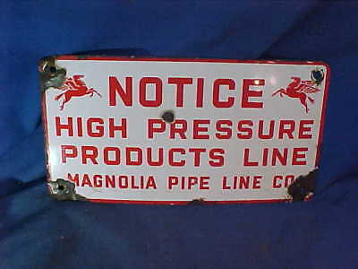 1930s SOCONY Vacuum MOBIL Advertising PORCELAIN SIGN for MAGNOLIA PIPE LINE Co