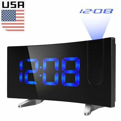 """Alarm Clock LCD Digital LED Projector Projection FM Radio Snooze 5"""" Large Screen"""