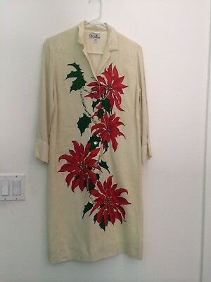 Rare 1960's Alfred Shaheen Dress Off White W Floral