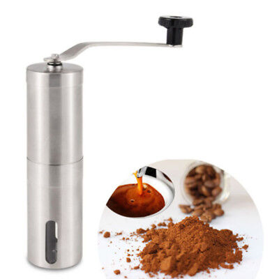 Brushed Stainless Steel Manual Coffee Grinder Personal Coffee Conical Burr Mill