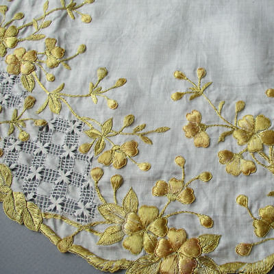 Antique SOCIETY SILK Hand Embroidered Centerpiece Golden FLOWERS w Maltese Lace