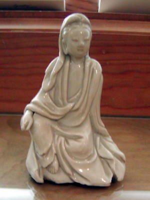 Vintage Chinese White Porcelain Pottery Woman Sitting Position