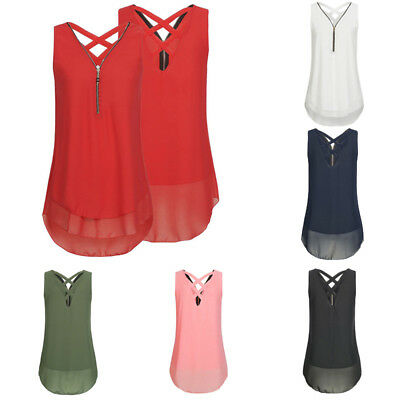 d6f3859fd7047 Sexy Womens Summer Chiffon Sleeveless Vest T Shirt Blouse Ladies Tops Plus  Size