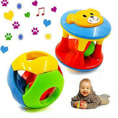 2pcs Baby Newborn Little Loud Jingle Rattle Rolling Ball Ring Bell Grasp Toy UK`