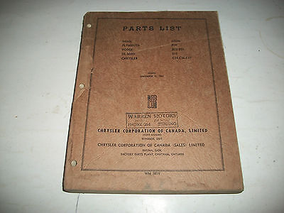 1942 Dodge Chrysler Plymouth Desoto Illustrated Master Parts List Catalogue