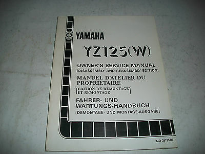 Official 1989 Yamaha Yz125(W)  Motorcycle Owners Shop Manual Clean Cmystore4More