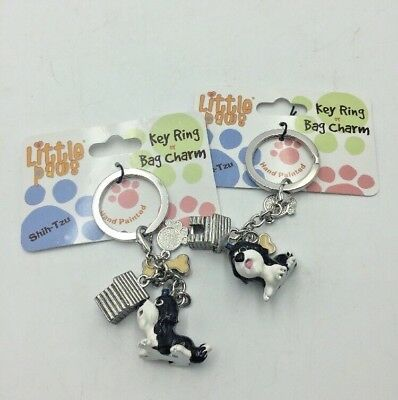 Little Paws Enamel SHIH TZU Key Ring Bag Charm Lot of 2 Dog House Paw Bone