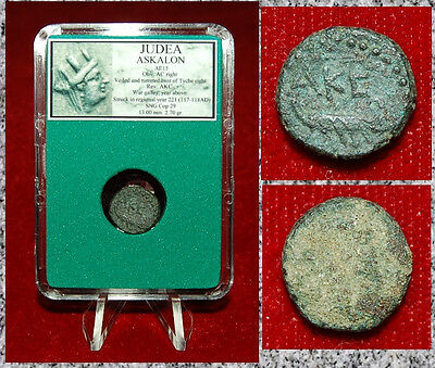 Ancient Judaea Coin ASKALON Turreted Bust Of Tyche and War Galley on Reverse