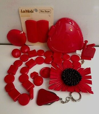 Wholesale Lot: Collectible Red Plastics Bakelite Or Other Vintage-Now, Untested