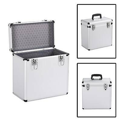 "12"" LP Vinyl Record Storage DJ Collection Box Flight Cases Stackable Silver New"
