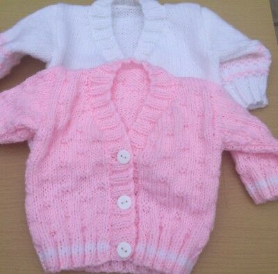 New Hand Knitted Baby Girl Cardigan Gift Set. Two Cardigans In Set. 0-3 Months