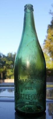 100 Year Old! 1918 - end of WWI NSW unusual light green Beer Bottle