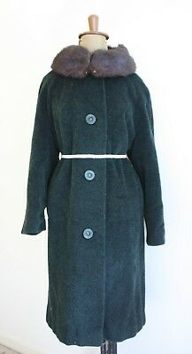 EMERALD GREEN Wool and Mohair 1950s Jacket Mink Fur Collar Aresco England Med Lg