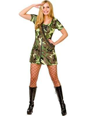 Ladies Sexy Army Girl Fancy Dress Costume Soldier Uniform Womens Military