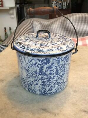 Primitive Blue And White Granite Ware Pail With Lid
