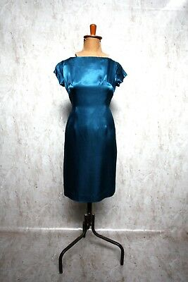 PEACOCK TEAL BLUE Satin 1960s Wiggle Dress Cocktail Prom Evening b37 w31 h40 Med