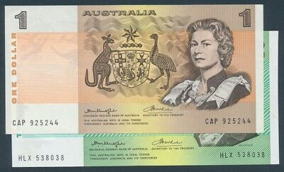 Australia 1976 $1 & $2 Knight-Wheeler 2 Notes R-76a & R-86a EF Cat $97