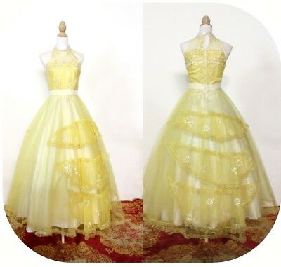 YELLOW and WHITE EMBROIDERED Prom Dress YD2 Full Ruffle Skirt 50s 60s sleeveless