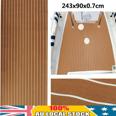 AU 243x90cm 7mm Marine Flooring Teak Foam Boat Yacht Decking Sheet Self-Adhesive