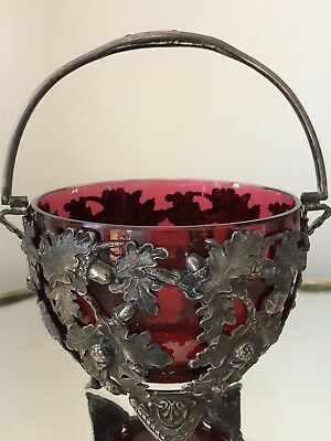 Antique CRANBERRY GLASS REPOUSSE EMBOSSED SILVERPLATE SUGAR BASKET BoN Bon Bowl