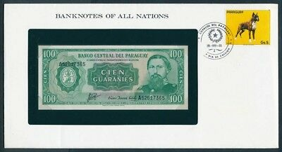 Paraguay: 1982 100 Guaranies Note & Stamp Cover, Banknotes Of All Nations