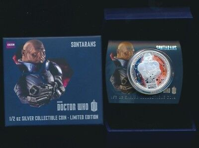 Niue 2014 $1 1/2 oz .999 Silver Proof Coloured Coin Dr Who Sontarans Ltd Edition