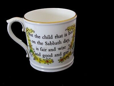 Vintage Hand Painted Royal Worcester Childs Cup Born On Sunday/Sabbath Day